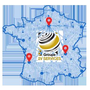2V SERVICES : carte d'intervention partout en France de notre entreprise française de propreté et services