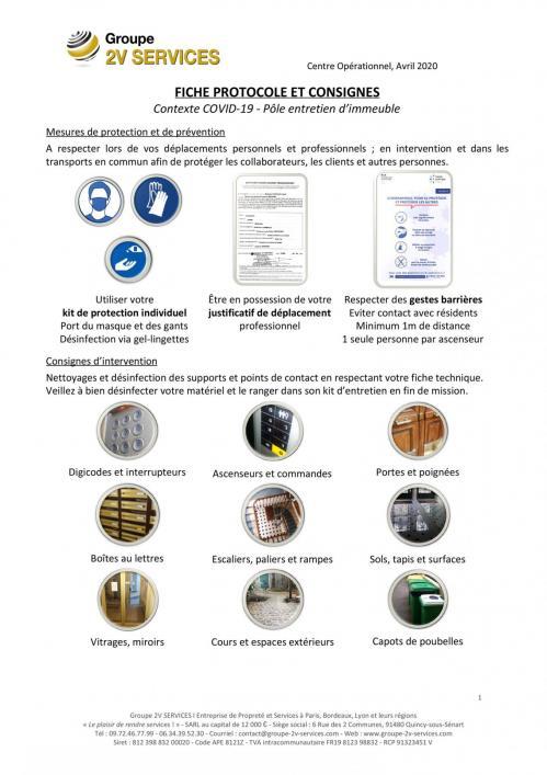 2V SERVICES : Protocole, mesures de prévention et consignes d'intervention (pôle entretien d'immeuble) dans le contexte de crise sanitaire de Coronavirus COVID-19